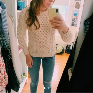 Vintage cream wool cable knit sweater!